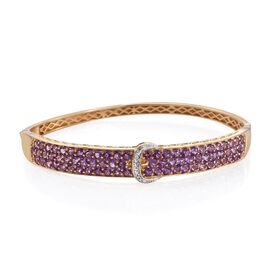 Amethyst (Rnd), Diamond Buckle Bangle (Size 7.5) in 14K Gold Overlay Sterling Silver 6.000 Ct.