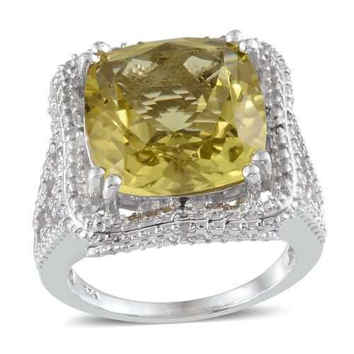 Brazilian Green Gold Quartz (Cush 9.00 Ct), Diamond Ring in Platinum Overlay Sterling Silver 9.100 Ct.