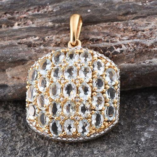 Espirito Santo Aquamarine (Ovl) Cluster Pendant in 14K Gold Overlay Sterling Silver 4.000 Ct.