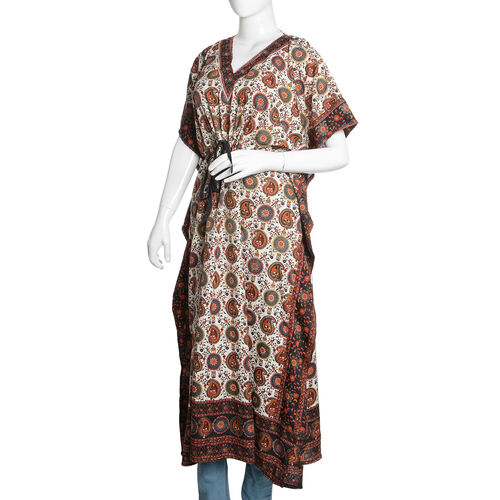 Designer Inspired - Burnt Orange, White and Multi Colour Paisley and Floral Printed Longline Kaftan (Free Size)
