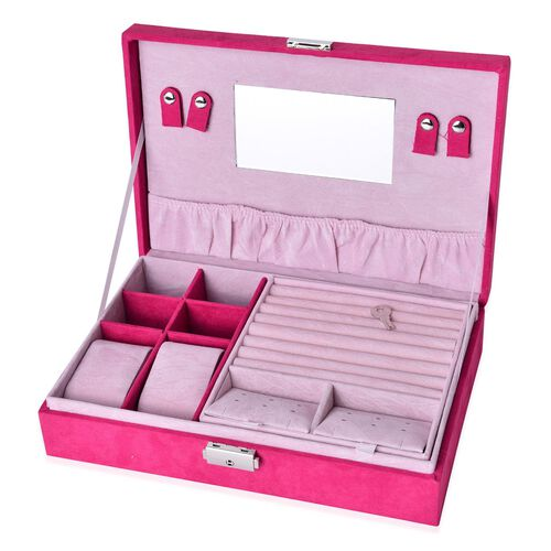 Multi Tier- Velvet Box with Removable Tray for Rings (70-80) and Earrings, Slot for Necklaces, Watches and Other Jewellery. (Size 28x19x6.5 Cm) - Pink