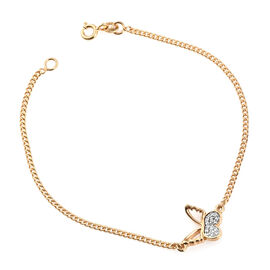 Kimberley Butterfly Collection - Natural Cambodian Zircon (Rnd) Butterfly Bracelet (Size 7.5) in 14K Yellow Gold Overlay Sterling Silver