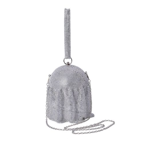 Limited Edition Waterfall White AAA Austrian Crystal Silver Clutch (Size 12.5x12.5 Cm)