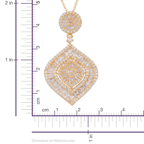 ELANZA AAA Simulated Diamond (Rnd) Pendant With Chain in 14K Gold Overlay Sterling Silver, Silver Wt 12.15 Gms.