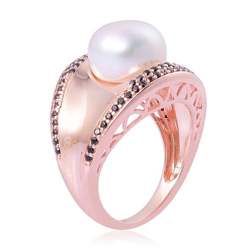 Fresh Water White Pearl (Rnd 5.50 Ct), Boi Ploi Black Spinel Ring in Rose Gold Overlay Sterling Silver 6.000 Ct.
