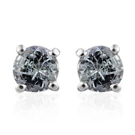 Green Tanzanite 0.50 Ct Silver Stud Earrings (with Push Back) in Platinum Overlay