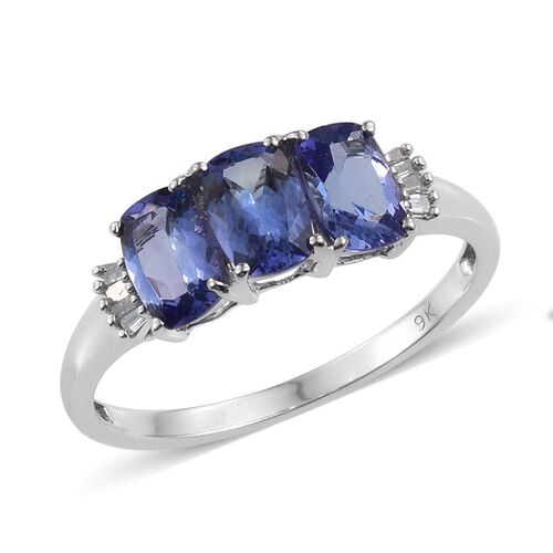 9K W Gold Tanzanite (Cush), Diamond Ring 2.250 Ct.