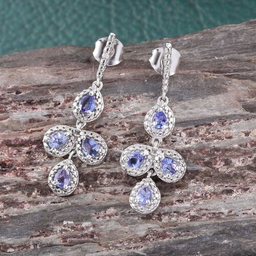 Tanzanite (Pear), Diamond Earrings (with Push Back) in Platinum Overlay Sterling Silver 1.000 Ct.