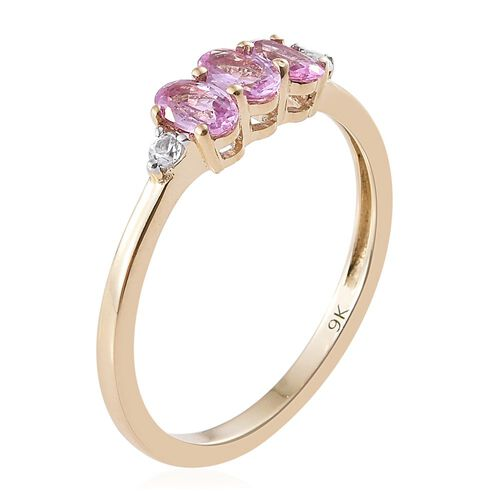9K Yellow Gold 0.75 Ct AA Pink Sapphire and Natural Cambodian Zircon Ring