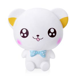 White and Multi Colour Bear Design Squishy Toy (Size 16x15x10 Cm)