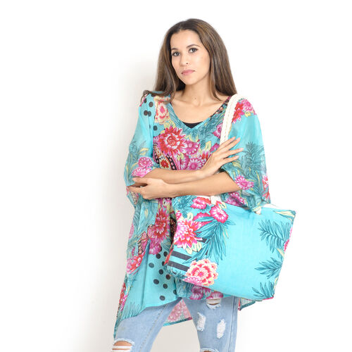 Set of 100% Cotton Red, Pink, Sky Blue and Multi Colour Floral, Paisley and Butterfly Printed Kaftan (Free Size), Bag (Size 50x40 Cm) and Flip Flop