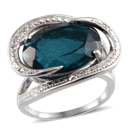 Indicolite Quartz (Ovl 14.00 Ct), Diamond Ring in Platinum Overlay Sterling Silver 14.010 Ct.