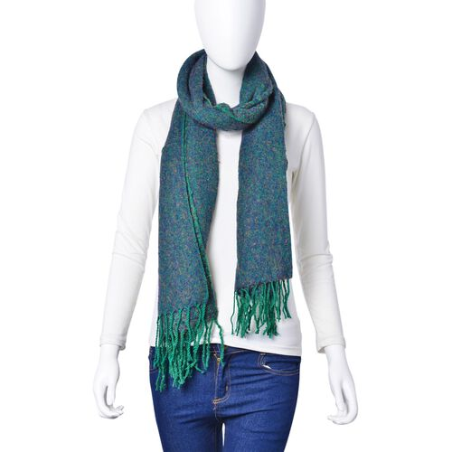 Designer Inspired-Green and Purple Colour Scarf with Tassels (Size 180x60 Cm)