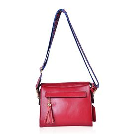 Cyber Weekend Deal - 100% Genuine Leather Red Colour Crossbody Bag with Tassel Charm and Colourful Adjustable and Removable Shoulder Strap (Size 21.5X18.5X8.5 Cm)