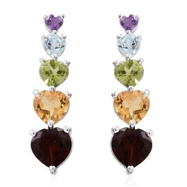Mozambique Garnet (Hrt), Citrine, Hebei Peridot and Multi Gemstone Earrings (with Push Back) in Sterling Silver 6.500 Ct.