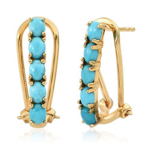 Arizona Sleeping Beauty Turquoise (Ovl) Earrings in 14K Gold Overlay Sterling Silver 1.750 Ct.