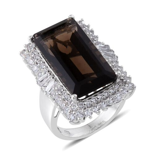 Brazilian Smoky Quartz (Oct 18.40 Ct), White Topaz Ring in Platinum Overlay Sterling Silver 21.250 Ct.