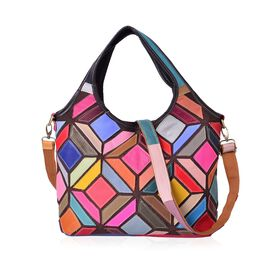 (Option 2) Designer Inspired- 100% Genuine Leather Multi Colour Mosaic Art Inspired Tote Bag with External Zipper Pocket and Adjustable Shoulder Strap (Size 39X34X28X12 Cm)
