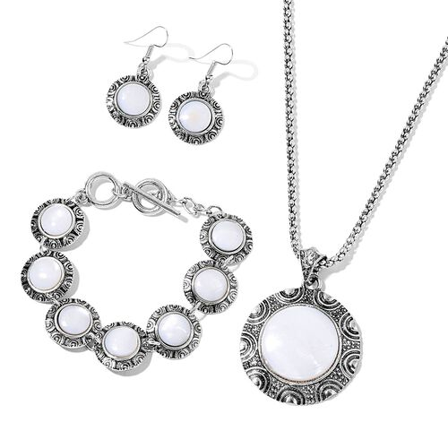 Set of 3- Organic White Shell and AAA Austrian Craystal Half Moon Pendant With Chain (Size 20 with 2 inch Extender), Bracelet (Size 7.5) and Hook Earrings in  Silver Tone 120.000 Ct.