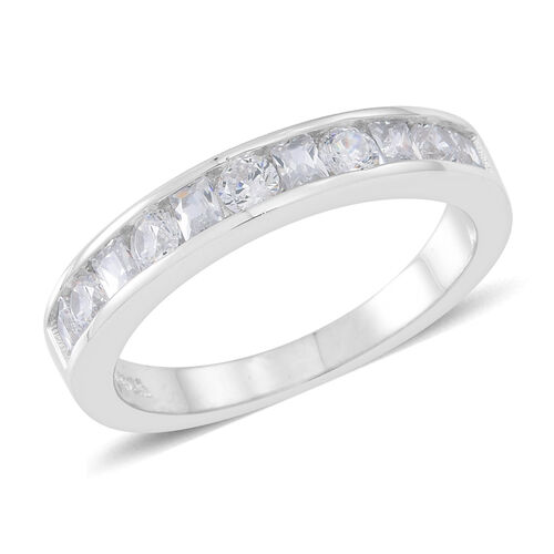 ELANZA AAA Simulated White Diamond (Rnd) Half Eternity Band Ring in Rhodium Plated Sterling Silver