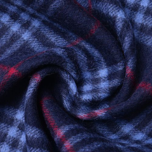 100% Wool Navy, Red and Blue Colour Checker Pattern Scarf with Tassels (Size 180X30 Cm)