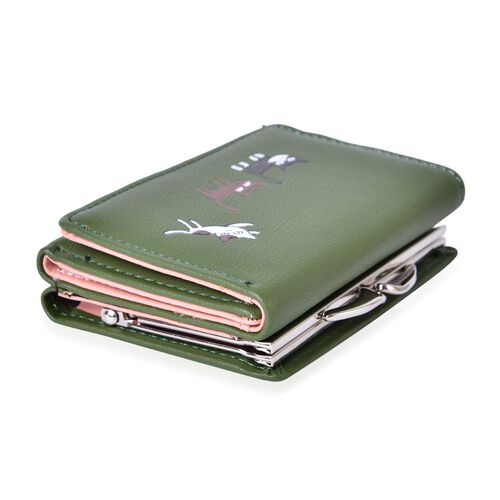 Kitty Pattern Green Colour Ladies Purses with Multiple Card Slots (Size 10.8X8.5x3 Cm)