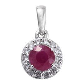 9K White Gold 0.90 Ct Burmese Ruby Halo Pendant with Natural Cambodian Zircon