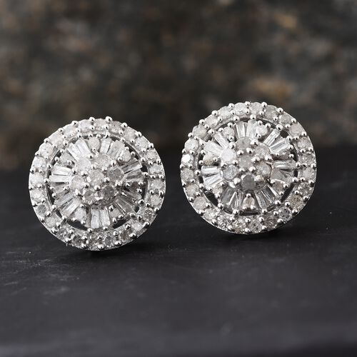 Diamond (Rnd) Stud Earrings (with Push Back) in Platinum Overlay Sterling Silver 1.000 Ct.