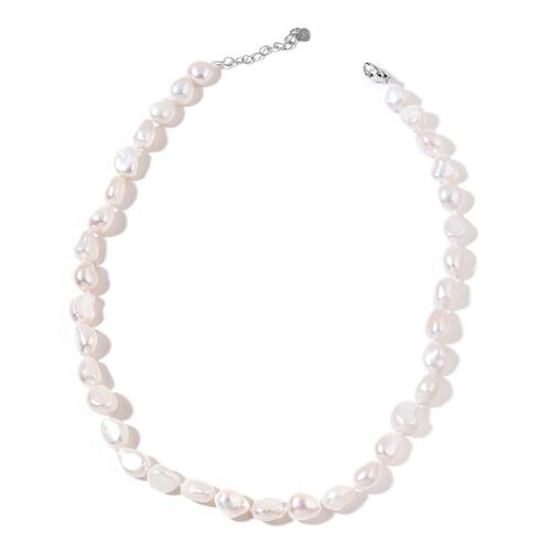 Double Shine Fresh Water White Pearl Necklace (Size 18 with 2 inch Extender) in Rhodium Plated Sterling Silver