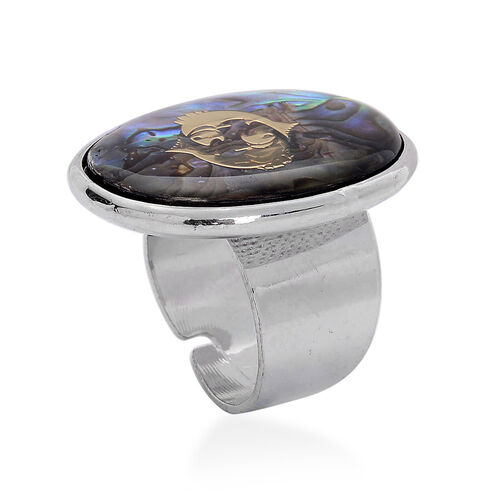 Abalone Shell Zodiac Pisces Adjustable Ring in Silver Tone 22.000 Ct.