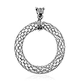 Rhodium Plated Sterling Silver Circle Pendant