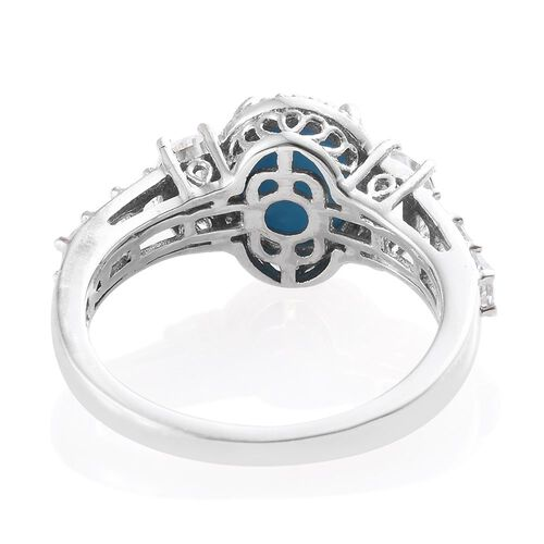 AAA Arizona Sleeping Beauty Turquoise (Ovl 2.25 Ct), D_Shape White Topaz Ring in Platinum Overlay Sterling Silver 3.585 Ct.