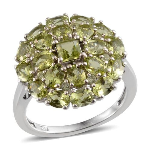 AA Hebei Peridot (Sqr) Cluster Ring in Platinum Overlay Sterling Silver 4.550 Ct.