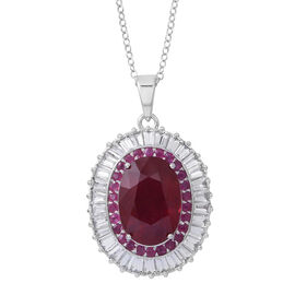 African Ruby (Ovl 8.75 Ct), White Topaz and Burmese Ruby Pendant with Chain in Rhodium Plated Sterling Silver 12.000 Ct.