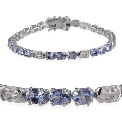AA Tanzanite (Ovl), White Topaz Bracelet (Size 7) in Platinum Overlay Sterling Silver 10.250 Ct.