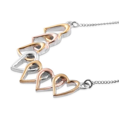 Limited Edition- Designer Inspired One Time Deal- Tri Colored Platinum, Yellow and Rose Gold Overlay Sterling Silver Continual Heart Necklace (Size 18), Silver wt 4.08 Gms.
