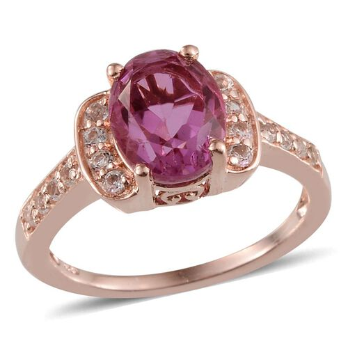 Kunzite Colour Quartz (Ovl 3.25 Ct), White Topaz Ring in Sterling Silver 3.750 Ct.