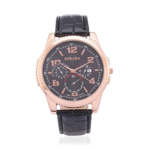 STRADA Japanese Movement Chronograph Look Black Dial Water Resistant Watch in Rose Gold Tone with Stainless Steel Back and Black Strap