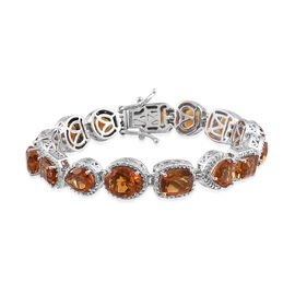 23.46 Ct Madeira Citrine and Natural Cambodian Zircon Bracelet in Platinum Plated Silver 28.25 gms 7.25 Inch