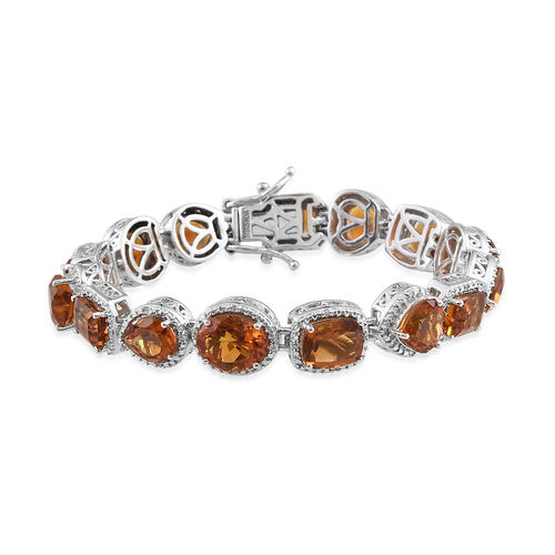 Madeira Citrine and Natural Cambodian Zircon Bracelet (Size 7.25) in Platinum Overlay Sterling Silver 23.463 Ct. Silver wt 23.50 Gms.