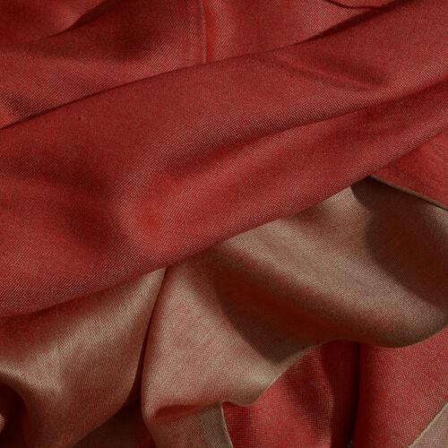 Red and Bronze Colour Reversible Jacquard Scarf with Fringes (Size 200X70 Cm)