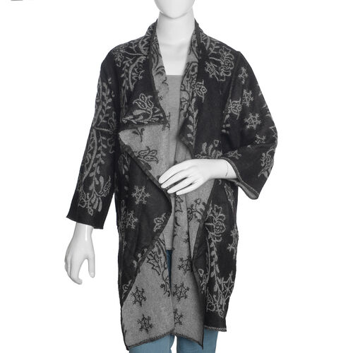 Designer Inspired -Black and Grey Colour Floral Pattern Knitted Apparel (Size 80X50 Cm)