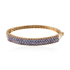 Tanzanite (Ovl), Diamond Bangle (Size 7.5) in 14K Gold Overlay Sterling Silver 9.020 Ct.