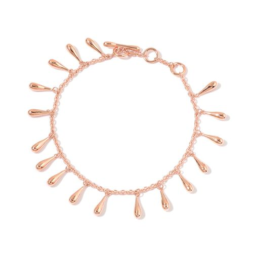 LucyQ Multi Drip Bracelet (Size 7 with 1 inch Extender) in Rose Gold Overlay Sterling Silver 12.75 Gms.