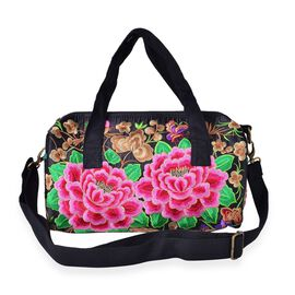 Shanghai Collection Multi Colour Floral Hand Embroidered Tote Bag with Adjustable and Removable Shoulder Strap (Size 31X14X12 Cm)