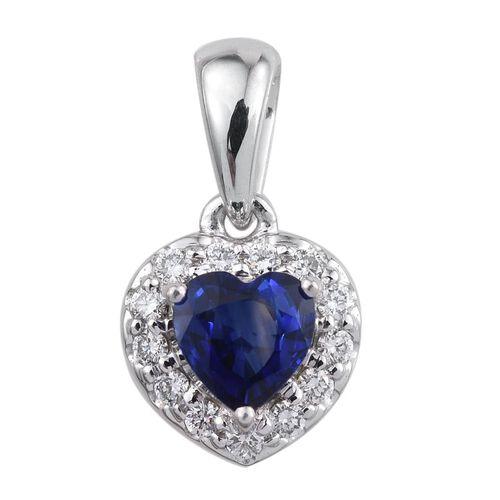 ILIANA 18K White Gold 0.90 Carat AAA Kanchanaburi Blue Sapphire Heart, Diamond SI G-H Pendant.