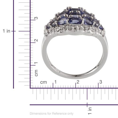 Tanzanite (Ovl), White Topaz Ring in Platinum Overlay Sterling Silver 2.250 Ct.