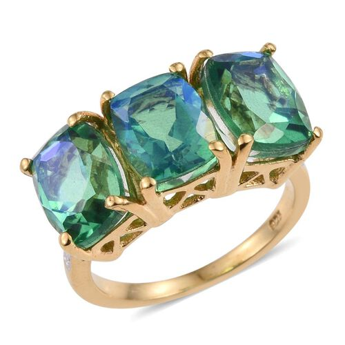 Peacock Quartz (Cush) Trilogy Ring in 14K Gold Overlay Sterling Silver 8.250 Ct.
