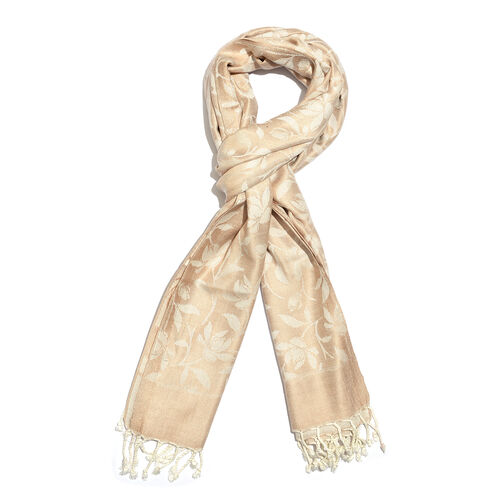 Golden and Off White Colour Floral and Leaves Pattern Jacquard Scarf with Tassels (Size 190X70 Cm)