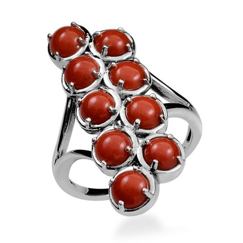 Natural Mediterranean Coral (Rnd) Ring in Platinum Overlay Sterling Silver 3.750 Ct.